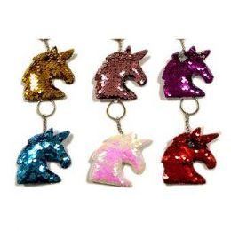 48 Bulk Reversible Sequins Unicorn Keychain