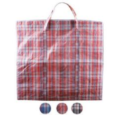 96 Bulk XX-Large Plaid Woven Zipper Bag