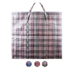 48 Bulk Giant Plaid Woven Zipper Bag
