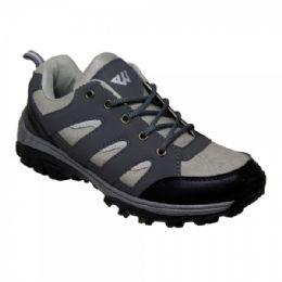 12 Bulk Men' Lightweight Hiking Shoes In Black Gray