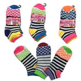 36 Bulk Three Pair Ladies Teens Anklets Stripes Triangles