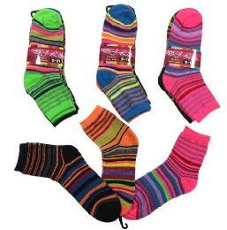 36 Bulk Three Pair Ladies Teens Quarter Socks Thin Stripes