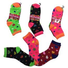 36 Bulk Ladies Teens Quarter Socks Colorful Hearts