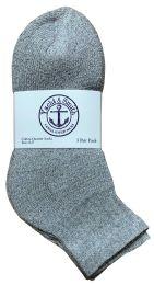 24 Bulk Yacht & Smith Kids Cotton Quarter Ankle Socks In Gray Size 6-8 Bulk Pack