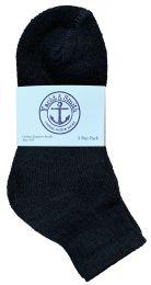 24 Bulk Yacht & Smith Kids Cotton Quarter Ankle Socks In Black Size 6-8 Bulk Pack