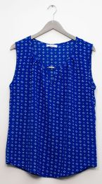 12 Bulk Jewel Keyhole Sleeveless Blouse In Royal Blue
