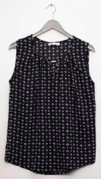 12 Bulk Jewel Keyhole Sleeveless Blouse In Black