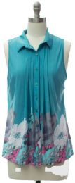 12 Bulk Pleat Front Button Down Top In Turquoise