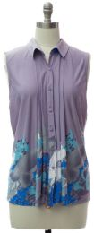 12 Bulk Pleat Front Button Down Top In Lilac