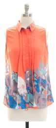 12 Bulk Pleat Front Button Down Top In Coral