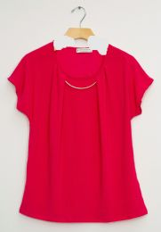 12 Bulk Bar Neck Cap Sleeve Top In Hot Pink