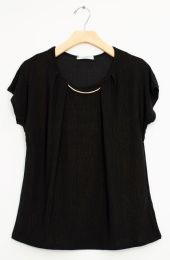 12 Bulk Bar Neck Cap Sleeve Top In Black