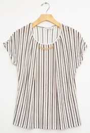 12 Bulk Stripe Chain Necklace Cap Sleeve Top Teal
