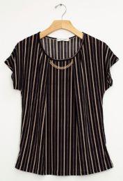 12 Bulk Stripe Chain Necklace Cap Sleeve Top In Black