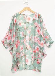 12 Bulk Cuff Sleeve Floral Kimono Mint