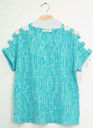 12 Bulk Lattice Sleeve Pebble Knit Top Turquoise