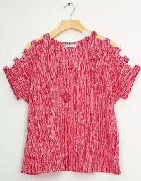 12 Bulk Lattice Sleeve Pebble Knit Top Red