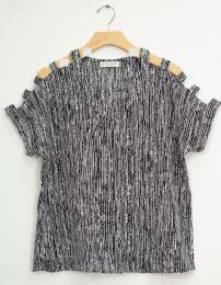 12 Bulk Lattice Sleeve Pebble Knit Top Black