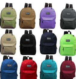 "24 Bulk 17"" Kids Basic Backpacks In 8 Assorted Colors"