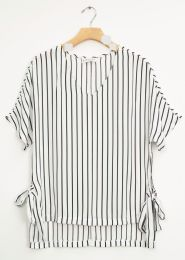 12 Bulk Side Tie Stripe Blouse White