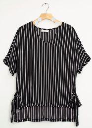 12 Bulk Side Tie Stripe Blouse Black