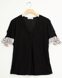 12 Bulk Tie Sleeve V Neck Pleat Top Black
