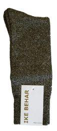 36 Bulk Ike Behar Men's Designer Glitter Dress Socks, Tuxedo Socks , Fits Shoe Sizes 7-12 Black Gold