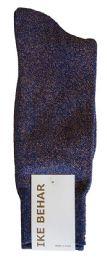 36 Bulk Ike Behar Men's Designer Glitter Dress Socks, Tuxedo Socks , Fits Shoe Sizes 7-12 Navy Gold