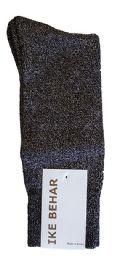36 Bulk Ike Behar Men's Designer Glitter Dress Socks, Tuxedo Socks , Fits Shoe Sizes 7-12 Black Black Silver Sparkle