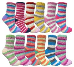 24 Bulk Yacht & Smith Women's Fuzzy Snuggle Socks , Size 9-11 Comfort Socks Assorted Stripes