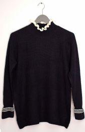 12 Bulk Tipped Ruffle Mock Neck Sweater Black