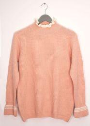 12 Bulk Tipped Ruffle Mock Neck Sweater Pale Pink