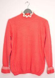 12 Bulk Tipped Ruffle Mock Neck Sweater Neon Pink