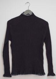 12 Bulk Contrast Mock Neck Ribbed Sweater Black