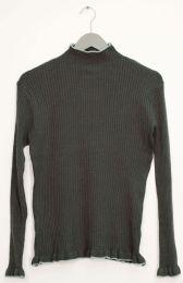12 Bulk Contrast Mock Neck Ribbed Sweater Hunter Green