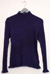 12 Bulk Contrast Mock Neck Ribbed Sweater Navy