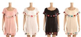 24 Bulk Ladies Tribal Design Beach Cover Up With Embroidery