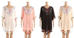 24 Bulk Ladies Traibal Design Beach Cover Up With Embroidery