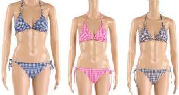 24 Bulk Womens 2 Piece Gingham Bathing Suite Assorted Colors