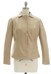 12 Bulk Open Lapel Faux Leather Jacket Tan