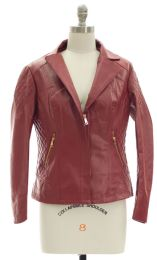 12 Bulk Open Lapel Faux Leather Jacket Red