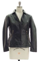 12 Bulk Open Lapel Faux Leather Jacket Black