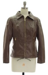 12 Bulk Faux Leather Collar Jacket Brown