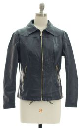 12 Bulk Faux Leather Collar Jacket Navy