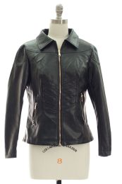12 Bulk Faux Leather Collar Jacket Black