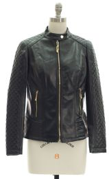 12 Bulk Quilted Sleeve Faux Leather Jacket Black