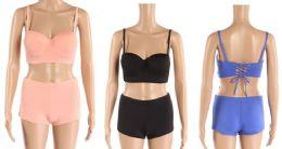 24 Bulk Womens 2 Piece Boy Shorts Bathing Suite Assorted Colors