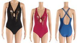 24 Bulk Womens 1 Piece Bathing Suite Assorted Colors