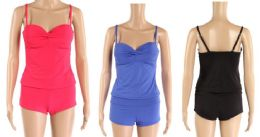 24 Bulk Womens 2 Piece Bathing Suite Assorted Colors Boy Shorts With Adjustable Straps