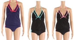 24 Bulk Womens 2 Piece Bathing Suite Assorted Colors With Adjustable Straps